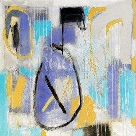 תמונת אבסטרקט לסלון עם גווני סגול צהוב שחור