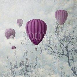 תמונה לסלון בלונים פורחים סגולים על רקע אפרפר