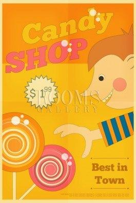 חנות הממתקים עיצוב רטרו בגווני צהוב