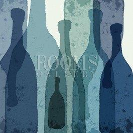 תמונה לבית ולמטבח בקבוקים כחולים מאויירים