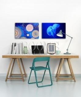 תמונות לבית הדפסה על פרספקס כחולות לחדר עבודה
