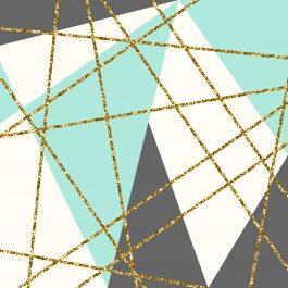 תמונה לבית איור גאומטרי בגווני ירוק אפור זהב