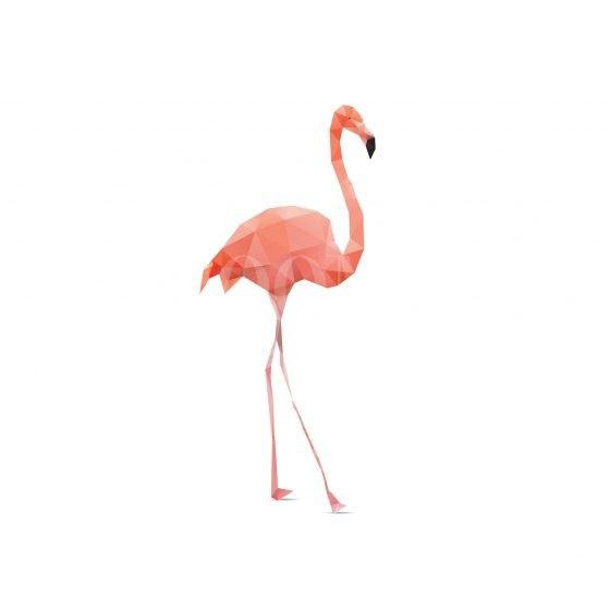Vector – flamingo geometric (illustration of a many triangles)