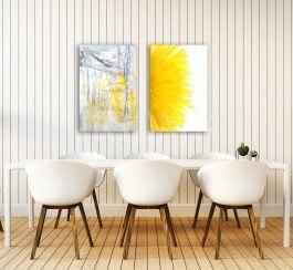 פינת אוכל משתדרגת בעזרת תמונות בצהוב