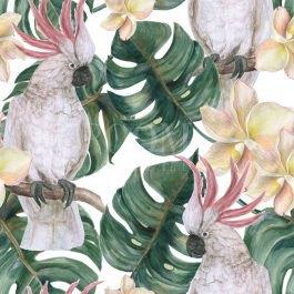 תמונה יפה לסלון של תוכים וצמחייה