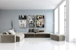 שלישיית תמונות מודרניות לסלון